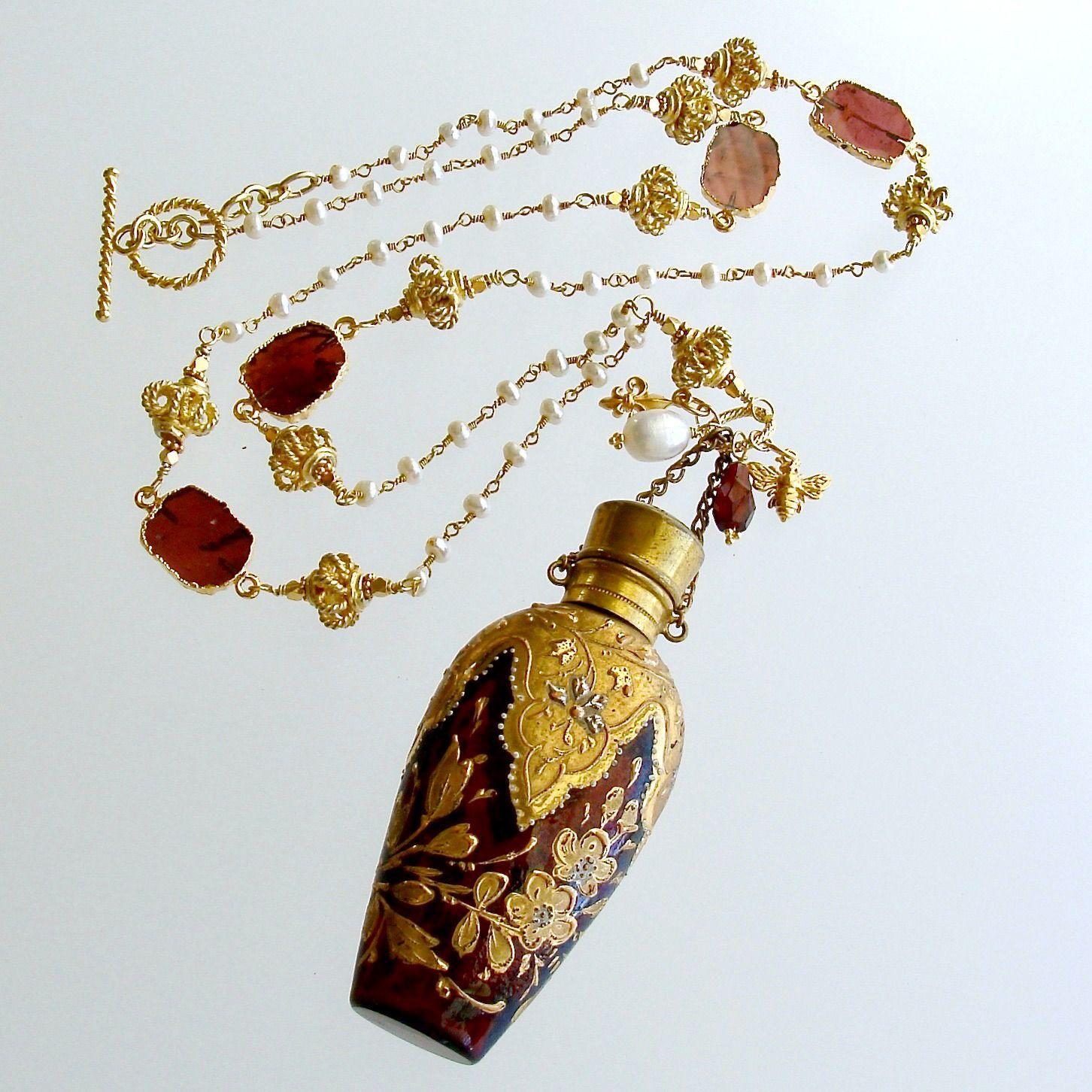 Gilt Embossed Garnet Red Moser Chatelaine Scent Bottle Necklace – Garnette Necklace | Karen Sugarman Designs