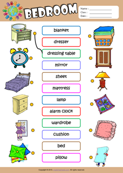 Bedroom esl matching exercise worksheet for kids xiomara for Bedroom furniture vocabulary