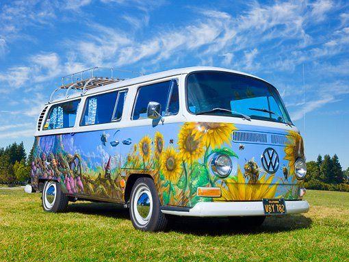 Sunflower Vw Van Hippie Van Vw Bus Volkswagen
