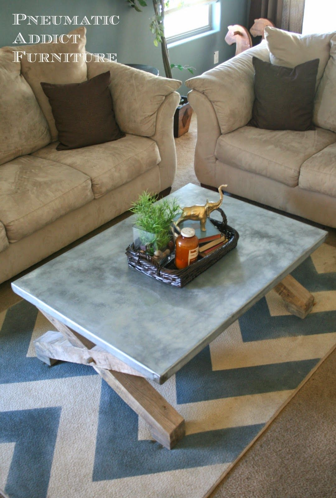 Pneumatic Addict Furniture: Zinc Top Coffee Table Tutorial: Pottery Barn  Knock Off   Smith Metal Wrapped Table!