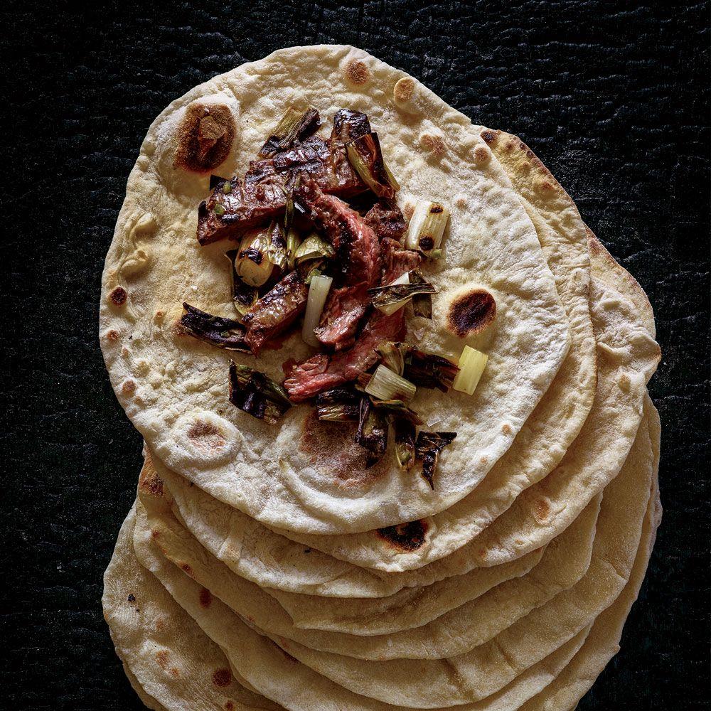 Sourdough Tortillas with Charred Steak and Scallion Salsa Recipe  - Val M. Cantu | Food & Wine