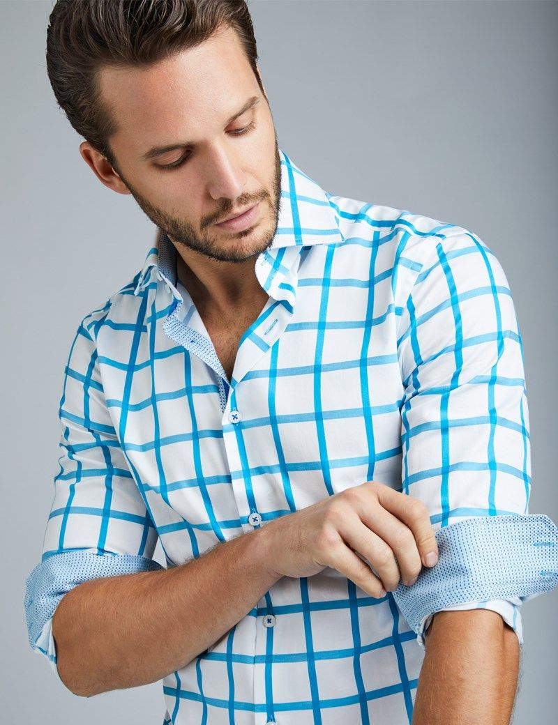 d7f44d72 Men's Curtis White & Turquoise Large Check Slim Fit Smart Casual Shirt - Single  Cuff