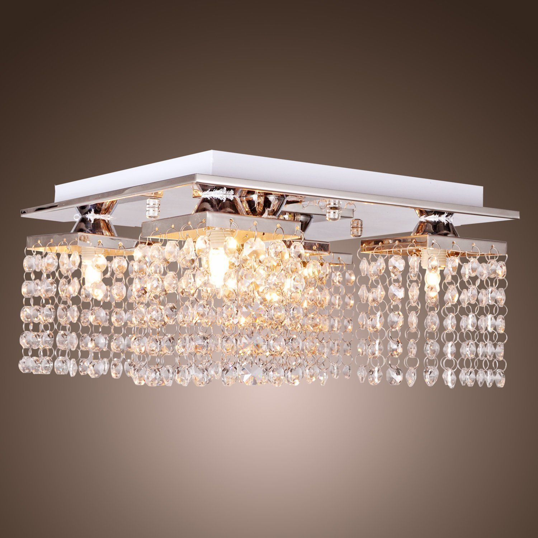 Lightinthebox Crystal Ceiling Light With 5 Lights Chrome Modern Flush Mount Ceiling Lights Fixture Crystal Ceiling Light Ceiling Lights Crystal Ceiling Lamps