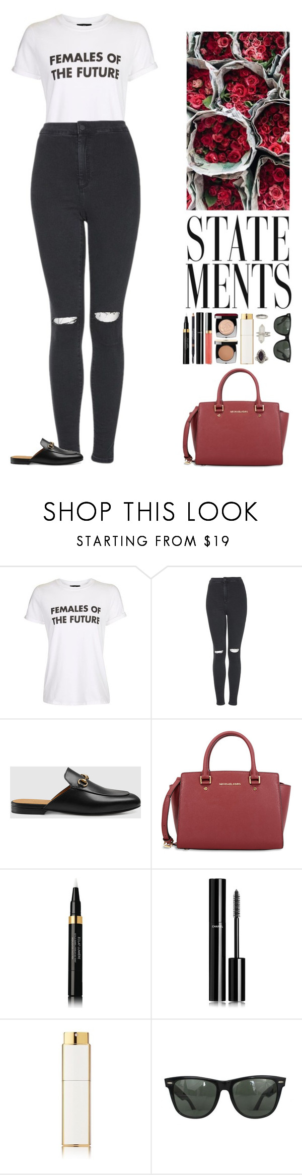 """Elaine."" by noemiecalot ❤ liked on Polyvore featuring Topshop, Gucci, Chanel, Ray-Ban and Miss Selfridge"