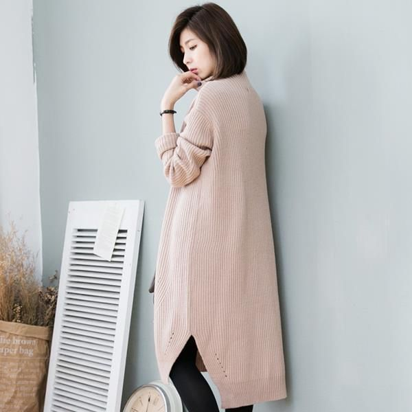 Long Sleeve Collar Knitted Dress - Strawberrycoco
