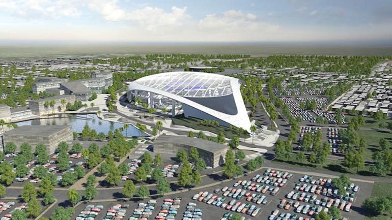 Look Rams Show Off Splashy Model Of New 2 6 Billion Stadium In Los Angeles Los Angeles Rams Entertainment District Football Stadiums