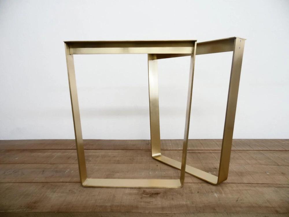 """28"""" Trapezoid Flat Brass Metal Table Legs, 24"""" Base Width ..."""