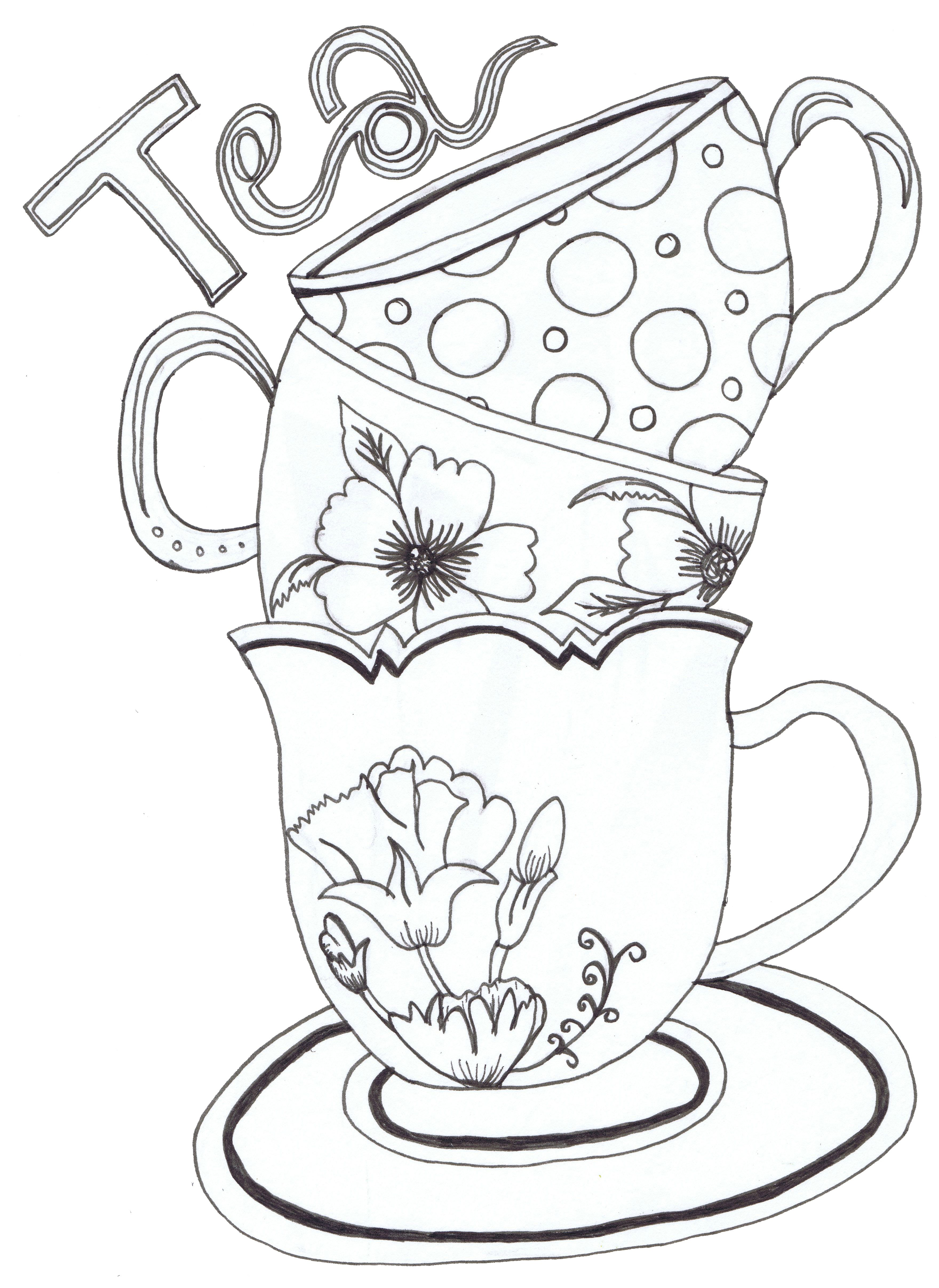 Teapot Teacups And Cake Coloring Page Rubber Stamp Zazzle Com