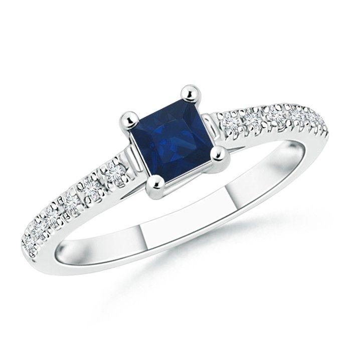 Angara Diamond Natural Garnet Three Stone Ring in Platinum vDZGLIrBq