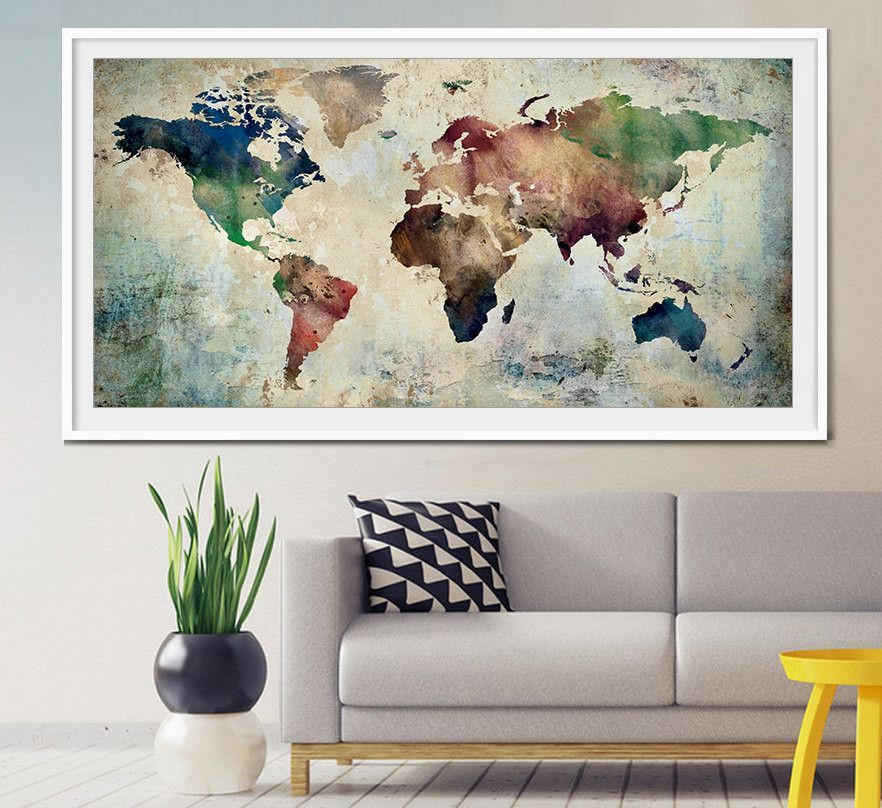 Large world map art extra large art world map watercolor wall art large world map art extra large art world map watercolor wall art world map watercolor map art extra large wall art home decor l28 gumiabroncs Gallery