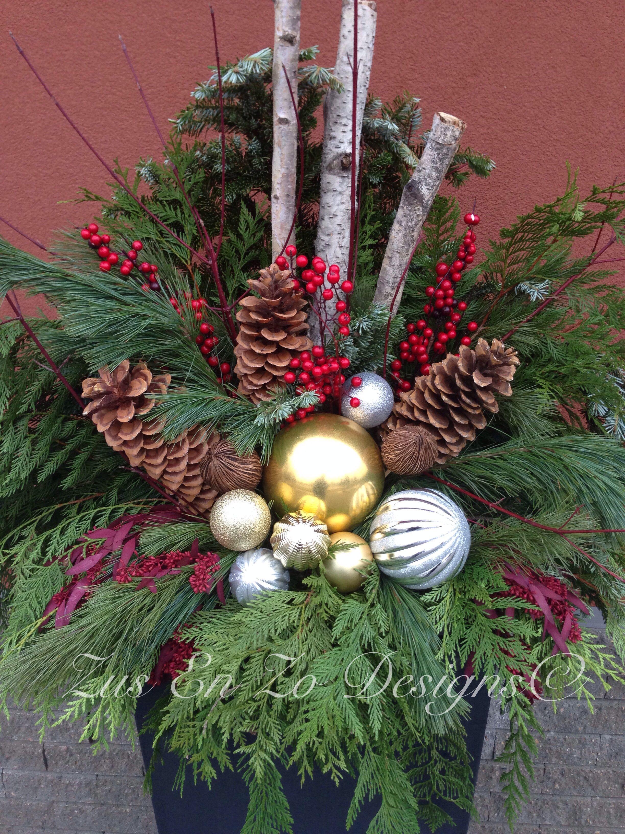 Christmas planter Christmas urns, Christmas garden
