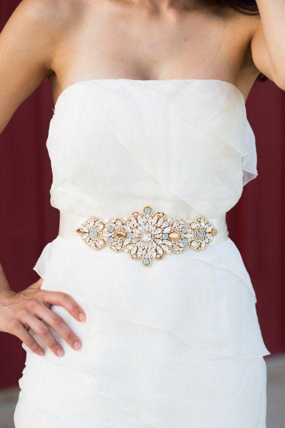 Rose Gold Opal Bridal Belt Vintage Wedding One Of A By Knrhandmade