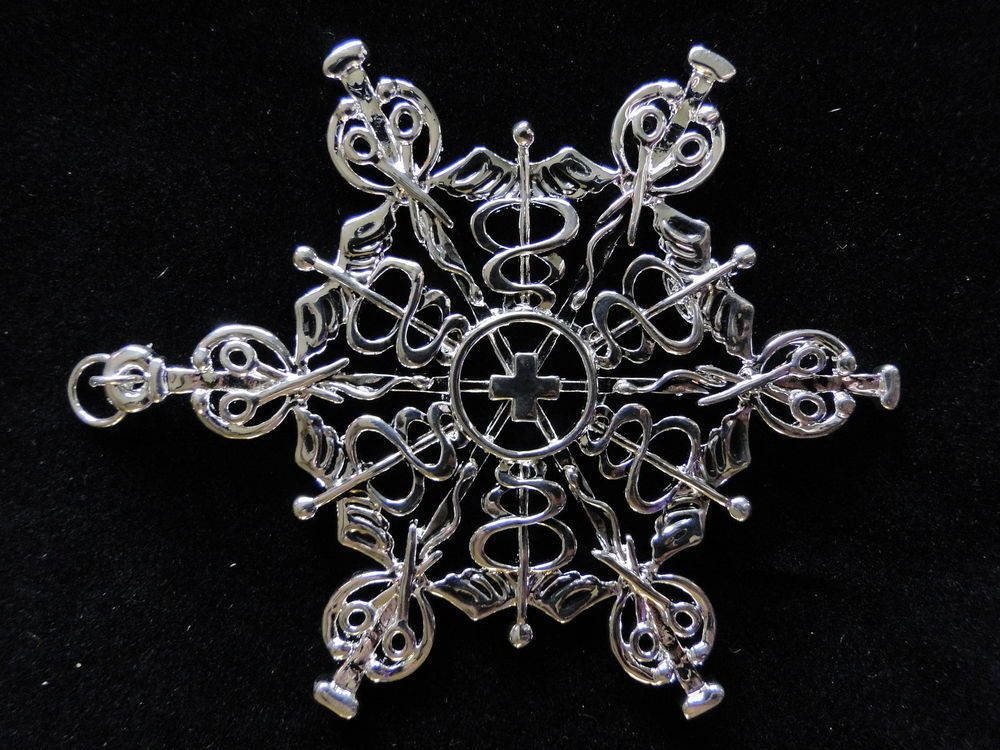 NEW SNOW WONDERS MEDICAL Snowflake Ornament Pendant Sterling Silver over Pewter