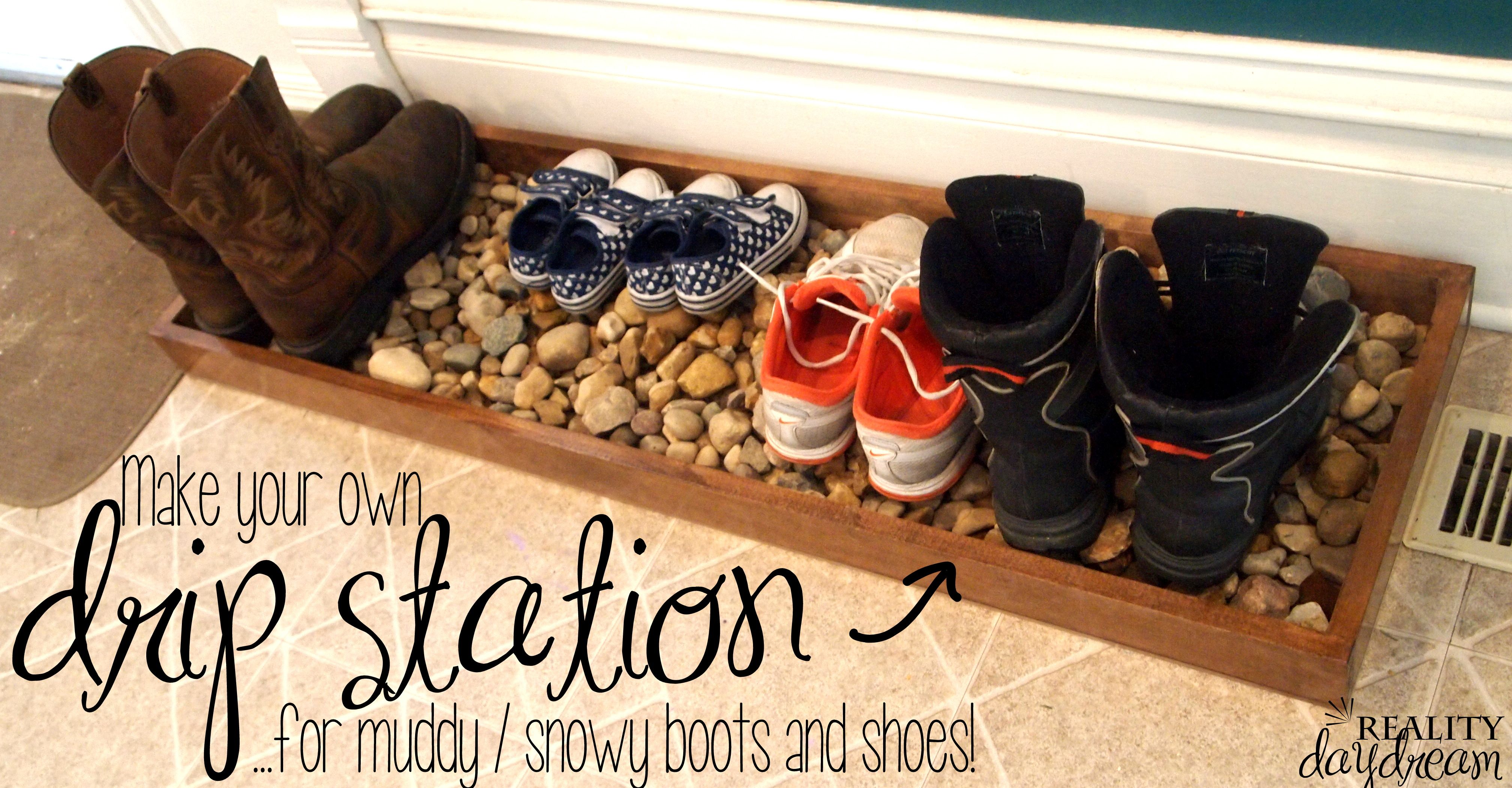 Diy Drip Tray For Wet And Muddy Shoes Reality Day Dream Shoe Organizer Shoe Organization Diy Entryway Shoe Storage