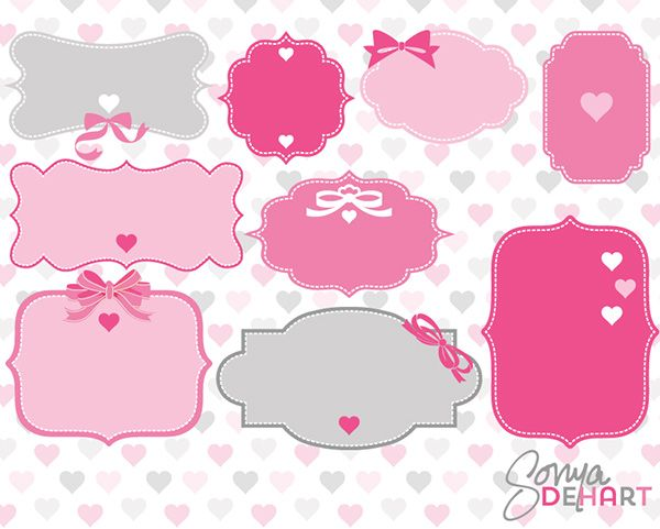 free valentines day label frame clip art set in vector eps and png formats