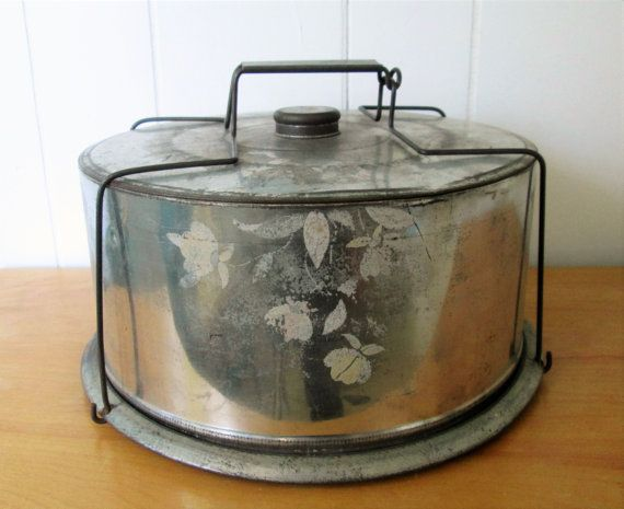 vintage spun alumium cake carrier Jewel Tea