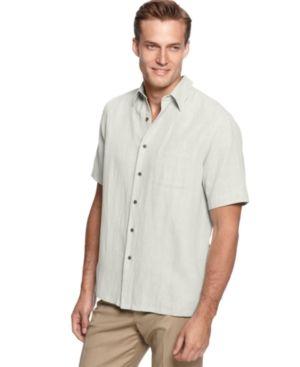 Tasso Elba Mens Silk Linen SS Button Up Shirt