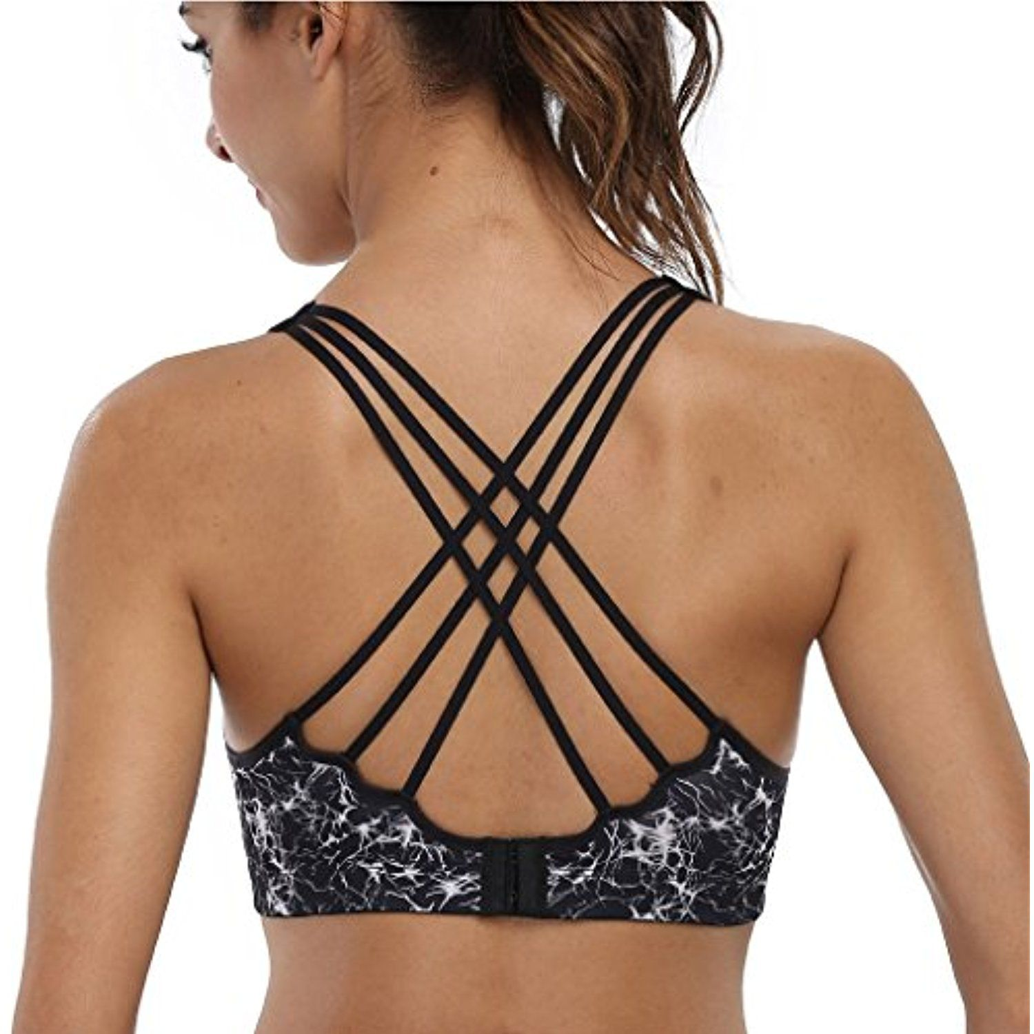 4e1dd1fa58 CharmLeaks Womens WorkOut Wirefree CrossBack Padded Running Yoga Sports  Sport Bra -- Be sure to