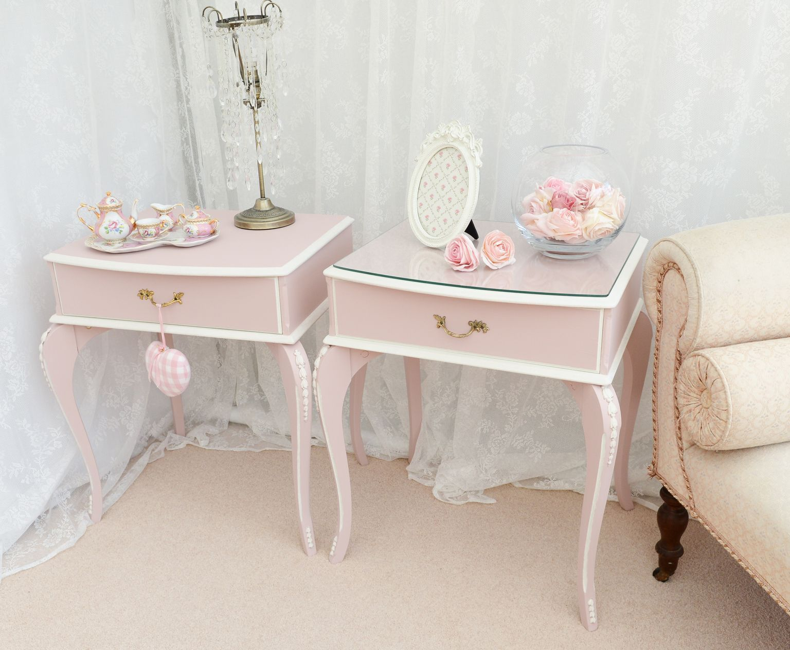 Vintage bedside table ideas - Newly Upcycled Vintage Pink Bedside Tables Shabby Chic