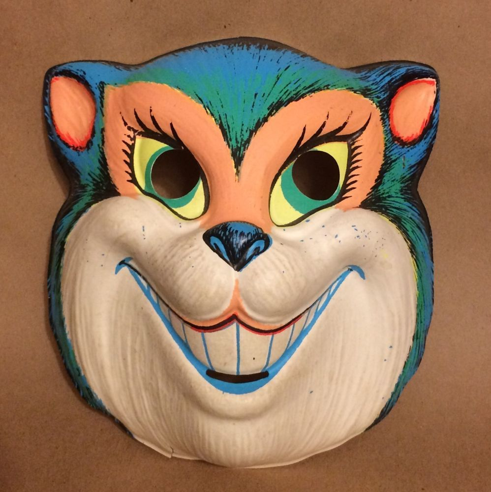 sold** Vintage Ben Cooper Halloween Cat Mask Neon Colors So Mod ...