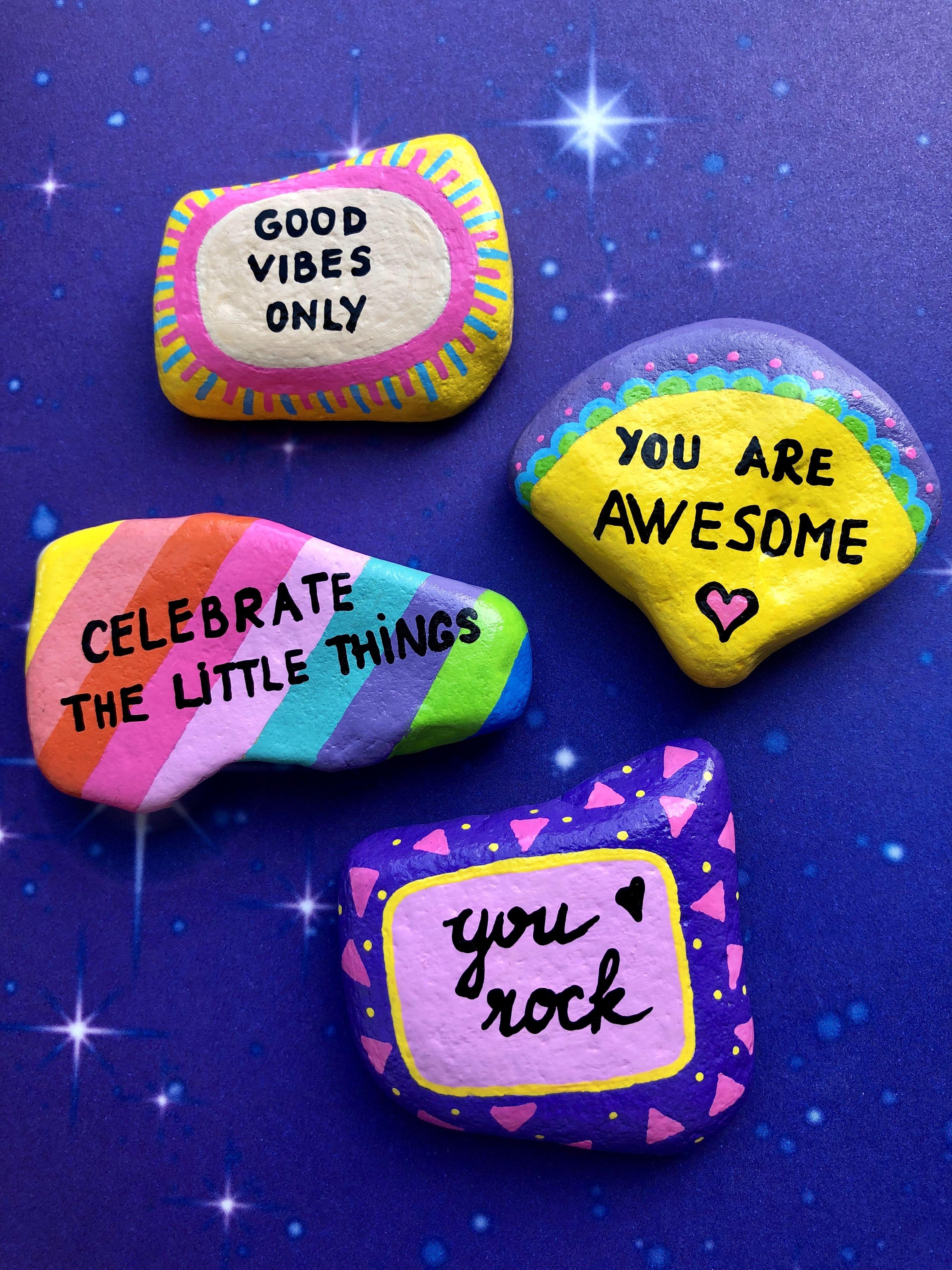 Kindness rocks, Hand painted stone art, Rock painting