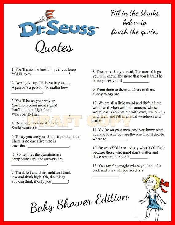 Baby Shower Dr Seuss Theme Finish The Quote Baby Dr Seuss Baby