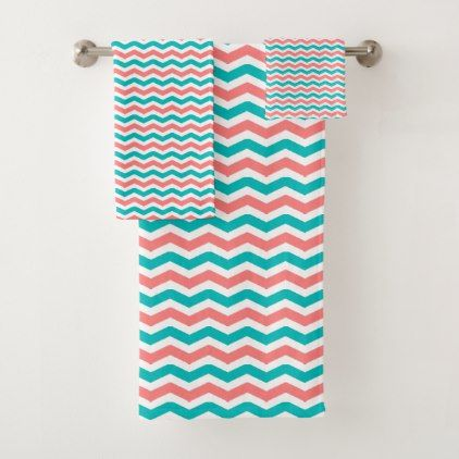 Coral And Teal Chevron Bath Towel Set Zazzle Com With Images