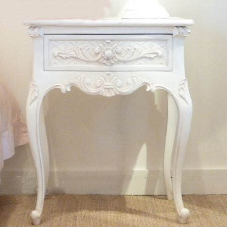 French Chateau White Bedside Table With Stunning Carved Detailing