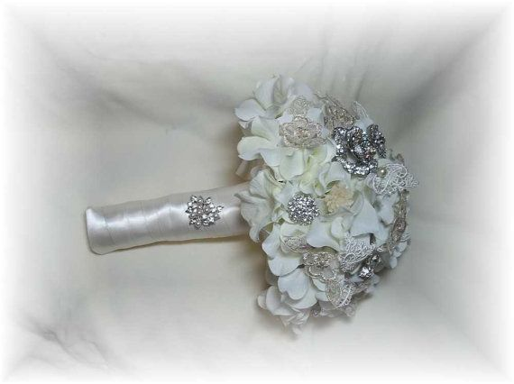 Brooch Crystal Feather or Pearl wedding by ClayBouquetShop on Etsy, $75.00