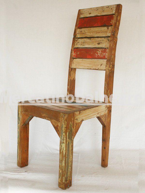 Sedia in legno Teak di recupero con schienale alto - Mercatino ...