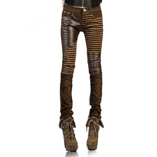ee1578d3f20 Women  PU Leather Patchwork Jeans Pants Fashion Zippers Boots Trousers  Pencil Pants Plus Size PT-023 Brown Black