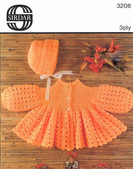 Pdf Vintage Baby Crochet Pattern Orange Matinee Coat Bonnet Sirdar