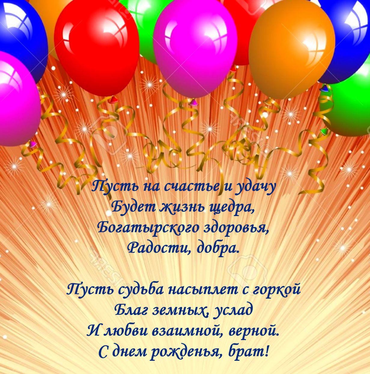 Открытка с днем рождения с поздравлениями для брата