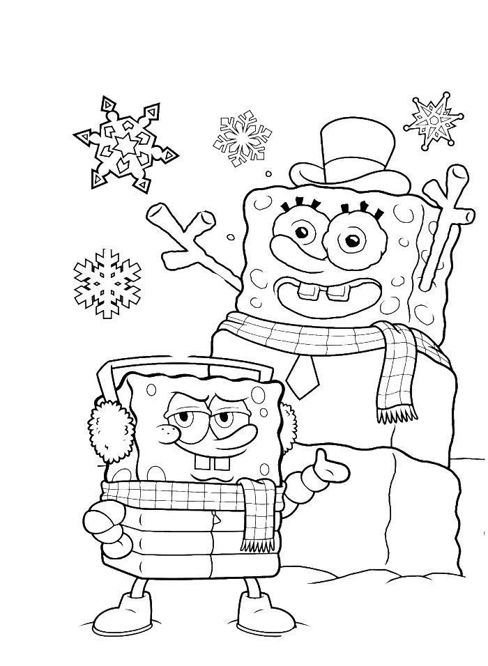 spongebob coloring pages  snowman coloring pages