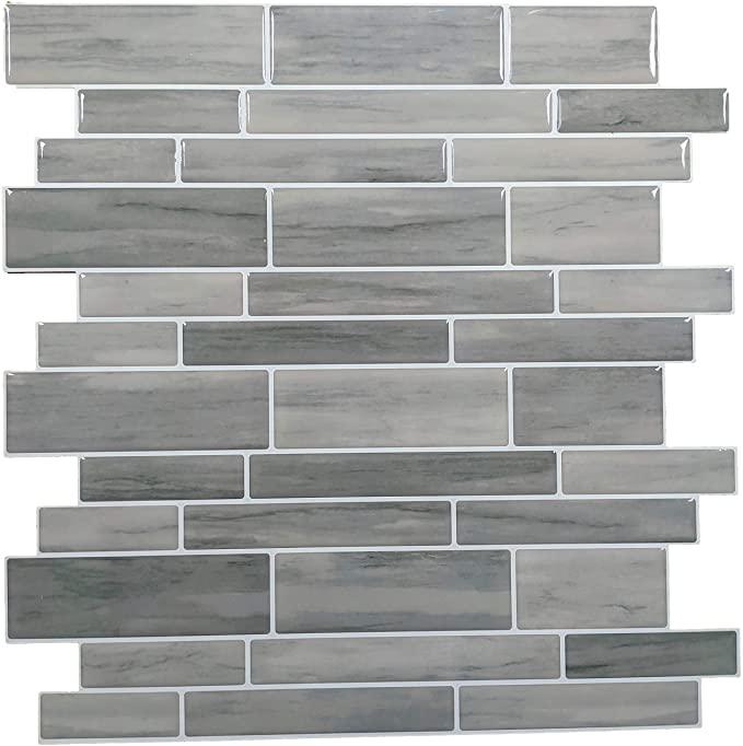 Amazon Com Crystiles 12 X12 Vinyl Peel And Stick Backsplash Tile Taupe Slate Pro Series Thicker Version In 2020 Peel N Stick Backsplash Backsplash Tile Backsplash