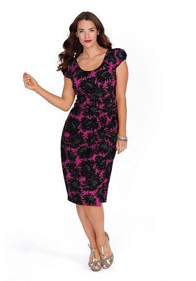 pink Sheego Damen Wickelkleid