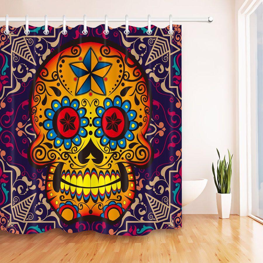 Rotten Gothic Sugar Skull Shower Curtain Waterproof Fabric Bath Decor Hooks Set Skull Shower Skull Shower Curtain Sugar Skull Shower Curtain Waterproof Fabric