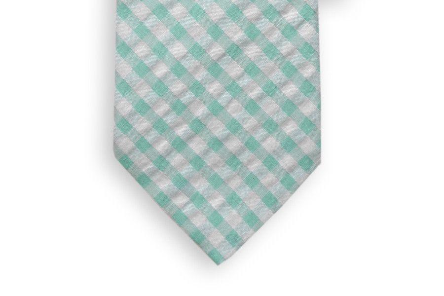 Aqua Seersucker Check Necktie in Aqua Blue by High Cotton