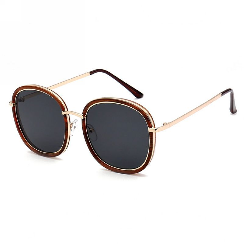 14ac9131f33 Metal Wire-Trim Acetate Polarized Round Square Sunglasses Brown Gold Grey