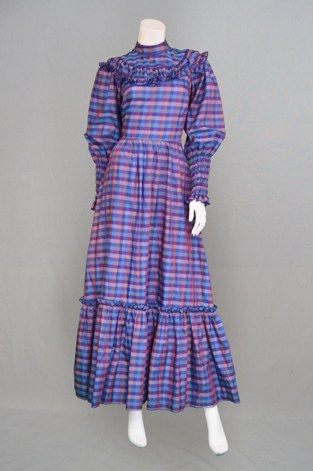 Vintage 70s Maxi Dress VERA MONT Prairie Blue Plaid Tartan Taffeta Boho Mutton in Kleidung & Accessoires, Vintage-Mode, Vintage-Mode für Damen | eBay