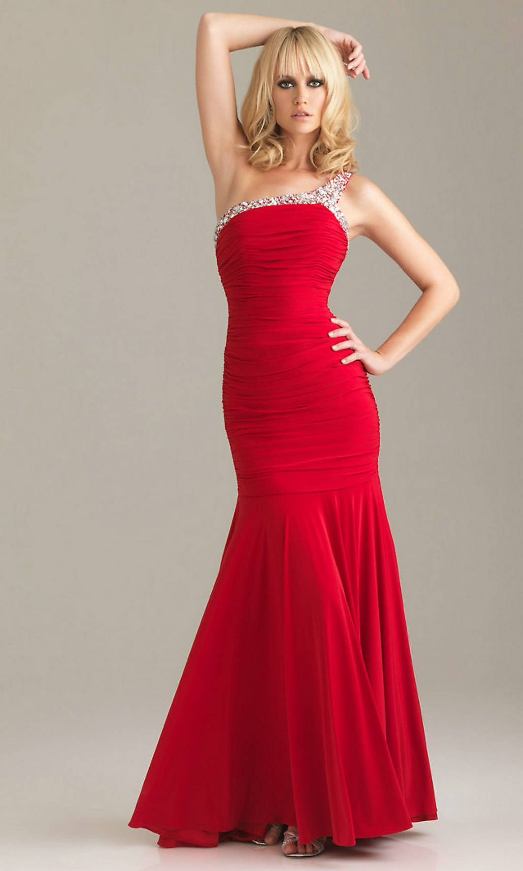 Open back sequin trim pleated skirt one shoulder natural long red