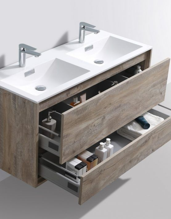 De Lusso 48 Double Sink Nature Wood Wall Mount Modern Bathroom