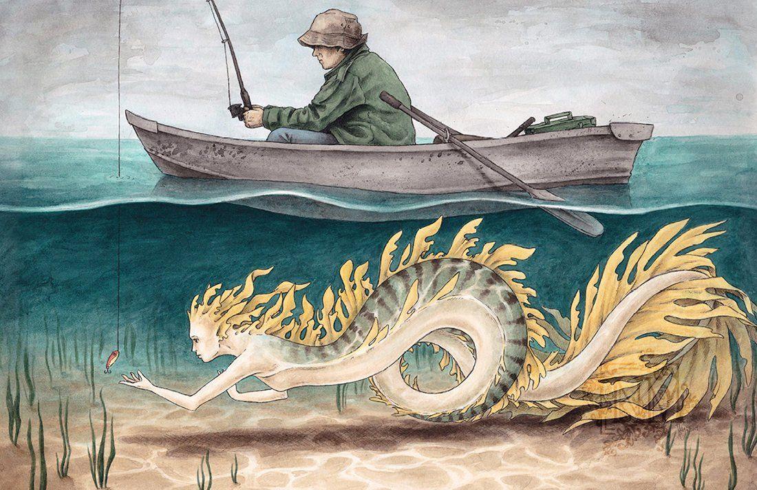 Mermaid art print just fishing etsy art mermaid drawings