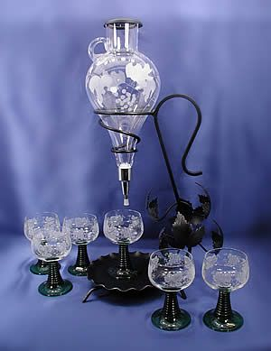 Austrian Wine Decanter Set With Matching Wine Glasses Unique Wine Glass Wine Dispenser Traditional Wine Glasses