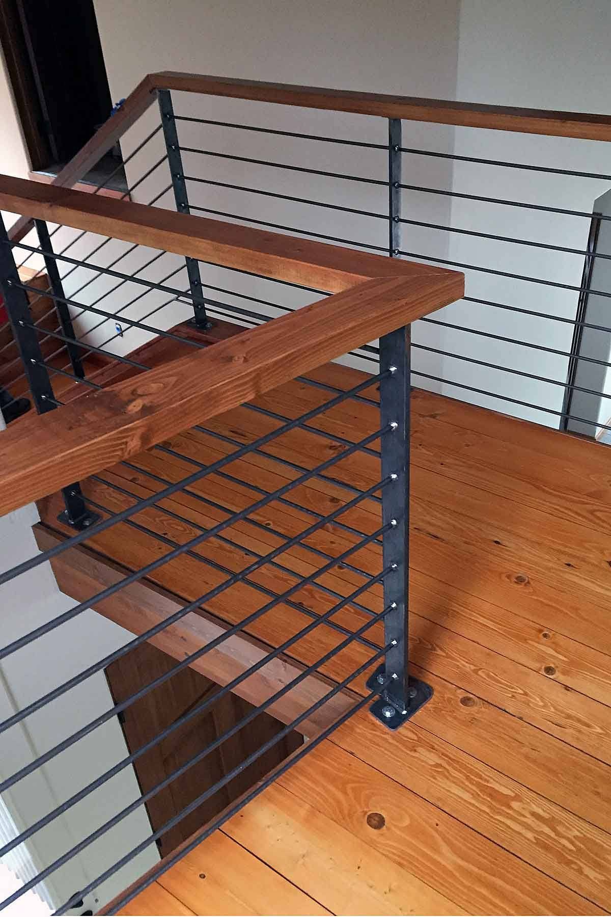 Photo Raw Steel Handrail Featuring Wood Cap Steel Handrail