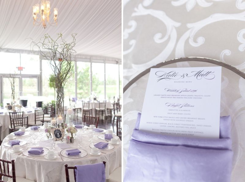 Lavender And White Sunday Brunch Florida Tent Wedding Branch Centerpiece