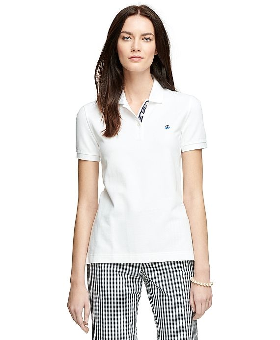 Short-Sleeve Slim Fit Polo Shirt White. Brooks Brothers  601bbbbaa