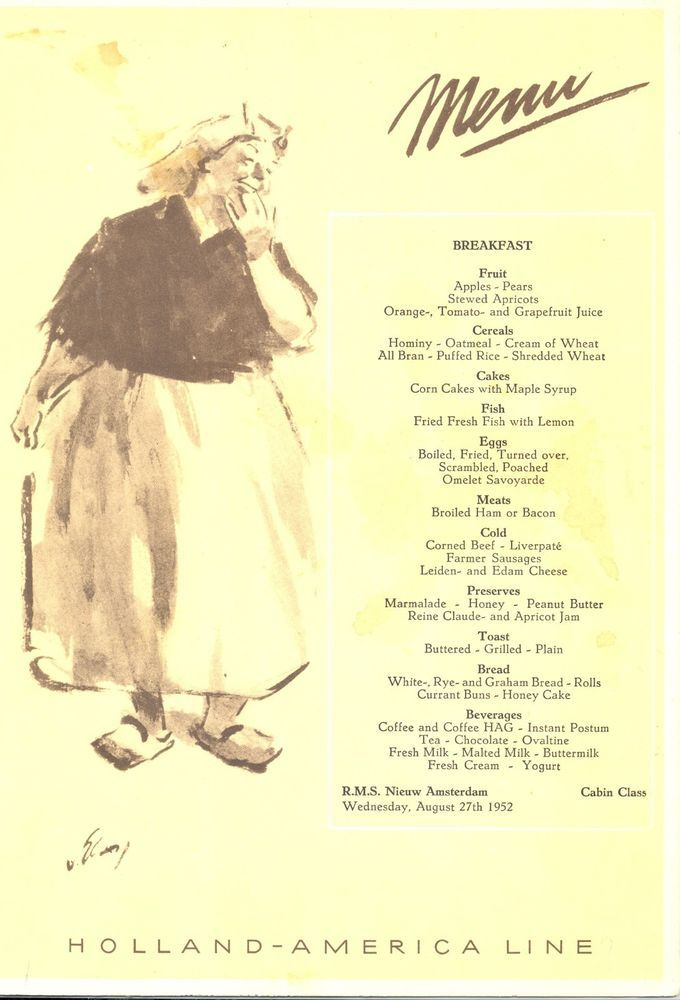 1952 holland america line rms nieuw amsterdam steamship breakfast 1952 holland america line rms nieuw amsterdam steamship breakfast menu aug 27 publicscrutiny Image collections