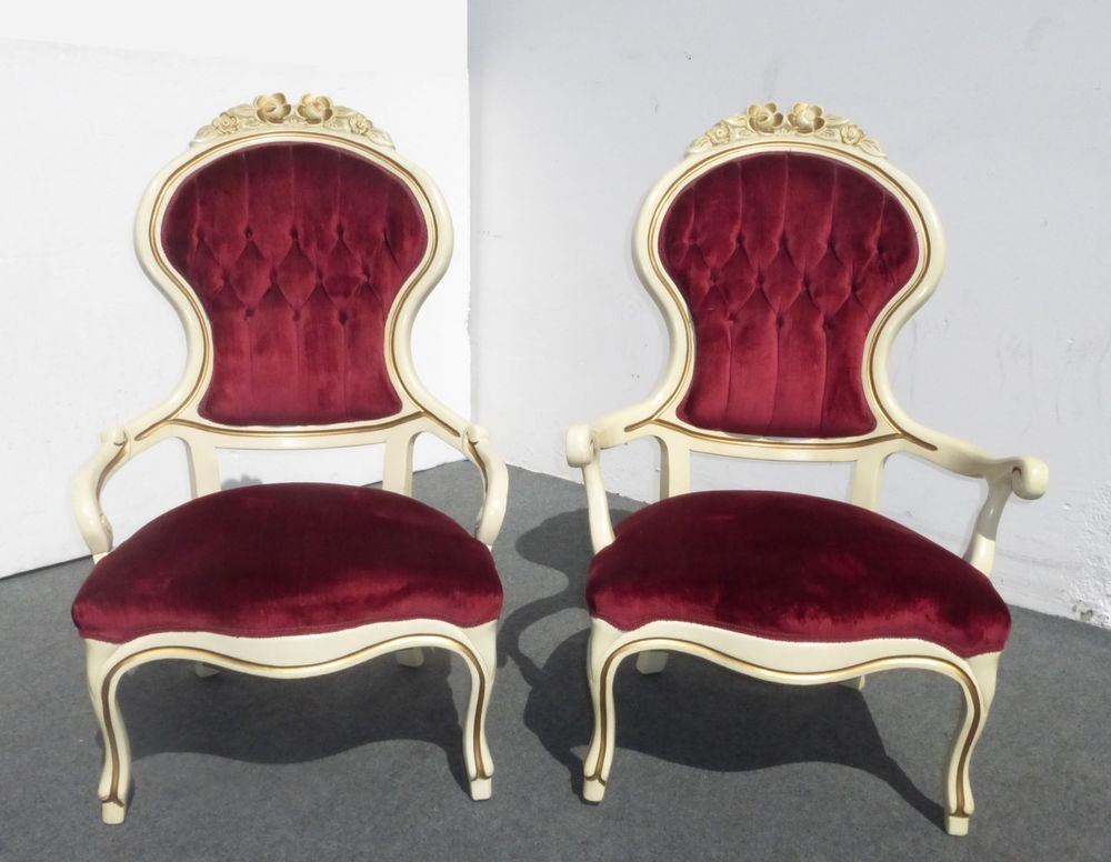 PAIR Vintage Kimball FRENCH PROVINCIAL His & Hers Accent ARM CHAIRS Burgundy - PAIR Vintage Kimball FRENCH PROVINCIAL His & Hers Accent ARM