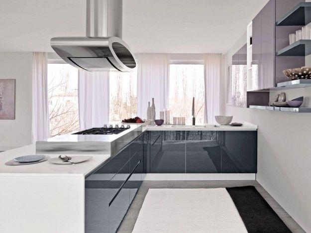 Cucina moderna bianca e grigia cerca con google - Cucina grigia e bianca ...